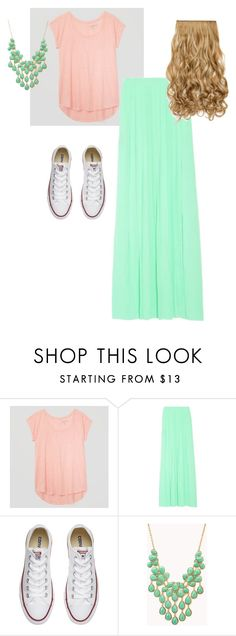 """""""pink and teal!converse"""" by misshollyr on Polyvore featuring LOFT, Converse and Forever 21"""