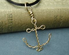 Brass Anchor Pendant  Wire Rope Anchor by nicholasandfelice, $16.50
