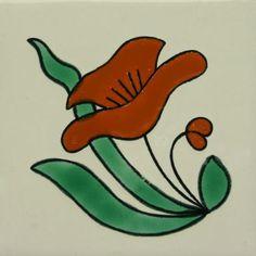 Especial ceramic Spanish decorative tile - red flower