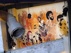 A mural to music in the bar at Meininger Hotels, Brussels