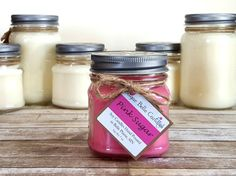 Soy Candles Handmade - Scented Soy Candles - Mason Jar Candles - Homemade Candles - Vegan Candles - Gift Idea for Her - Pink Sugar Candle