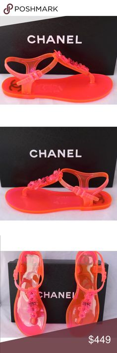 CHANEL HOT PINK BEACH FLATS JELLY SANDALS SHOES 37 Chanel bright pink jelly slingback beach flat sandals.   CHANEL Size 37 US 7 Please note Chanel tend to size small Flat Heel Cruise Collection 2016 Flowers  Made in Italy CHANEL Shoes Sandals