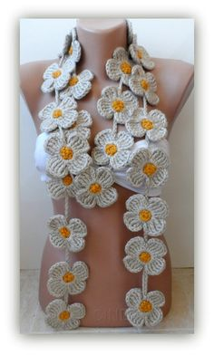 Your place to buy and sell all things handmade Crochet Cable, Crochet Motif, Crochet Flowers, Crochet Scarves, Crochet Clothes, Crocheted Scarf, Crochet For Kids, Crochet Projects, Crochet Earrings