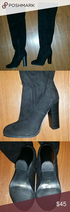 🆕Black Faux Suede Over-the-knee Boots These are brand new and never worn! They have inside zippers for easy wear and a chunky stacked heel that is easy to walk in. They're a size 9 but run snug so they'll also fit an 8.5! The leg opening is good for thicker athletic calves, but not plus size. Make an offer on this closet staple! Qupid Shoes Over the Knee Boots