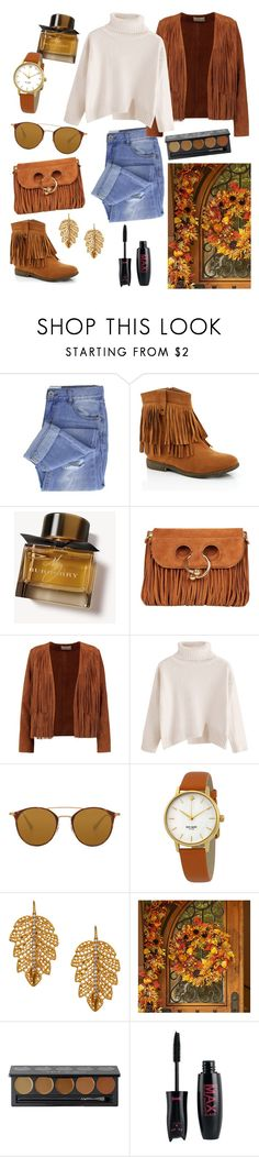 """""""Untitled #977"""" by ilarylmiao ❤ liked on Polyvore featuring Taya, Lady Godiva, Burberry, J.W. Anderson, Sandro, Ray-Ban, Kate Spade, Marika, Improvements and Sephora Collection"""