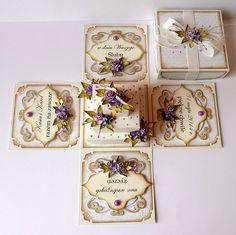 kartkulec, Exploding box wirth cacke and flowers Memories Box, Exploding Gift Box, Scrapbook Box, Scrapbooking, Snowflake Invitations, Organizer Box, Greeting Card Box, Pop Box, Pop Up Box Cards