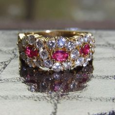 18k golden ring with rubies and diamonds