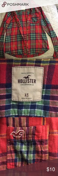 Red Hollister Flannel In great condition! Size XS Hollister Tops Tees - Long Sleeve