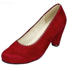 """Edle Dirndl-Schuhe """"Gretchen"""" in Rot - Trachtenschuhe für Damen aus echtem Velours-Leder, made in Italy"""