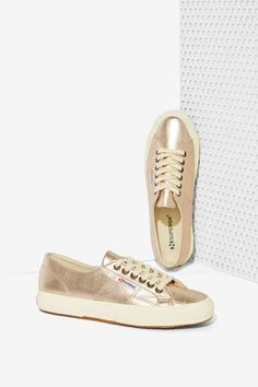 Superga Cotu Leather Sneakers - Metallic Croc - Shoes