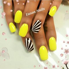 Black and White accent nails to bright yellow polish nail art design. Cute for summer!