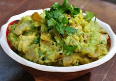 Indian Guacamole - can definitely use vegetable oil instead of coconut oil to make this and the kicker flavor comes from fresh curry leaves if you can find them (spend the time to go to the East Side to get them). This will disappear as soon as you make it.
