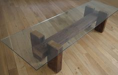 Reclaimed Wood and Glass Coffee Table. Unique Coffee Table.