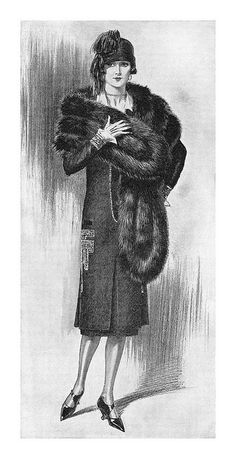 Detail from a 1925 International Fur Store ad. #vintage #1920s #fashion