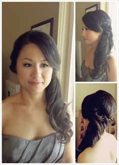 Wedding hair - side pony tail - bridesmaids hairstyle - Asian hair - long hair wavy curls - www.imagibyfiona.com
