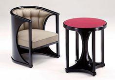 Armchair and table. Josef Hoffmann. 1910-1920