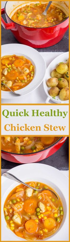 Quick Healthy Chicken Stew This delicious, simple, healthy chicken stew can be on the table for a family of four in just one hour. Made from kitchen store cupboard basics, it's a perfect one pot recipe to satisfy even the hungriest of mouths. Slow Cooker Recipes, Soup Recipes, Dinner Recipes, Cooking Recipes, Milk Recipes, Crockpot Meals, Yummy Recipes, Amazing Recipes, Recipes