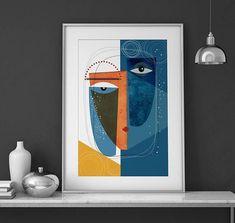 Krsna : Modern faces geometric abstract art print