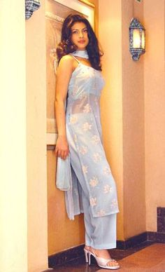 Priyanka Chopra in sheer kameez over crop top & palazzo pants