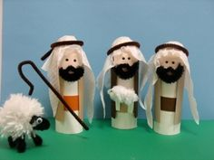 Toilet paper nativity scene: Design for shepherds. Nativity Crafts, Christmas Nativity, Christmas Crafts For Kids, Kids Christmas, Holiday Crafts, Spring Crafts, Toilet Roll Craft, Toilet Paper Roll Crafts, Bible Story Crafts