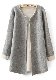 Grey Plain Long Sleeve Cardigan - Sweaters - Tops
