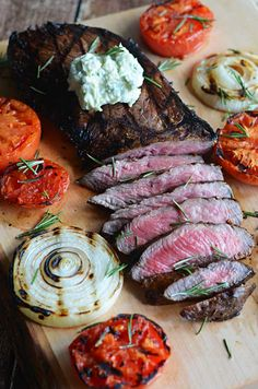 Grilled Balsamic Steak with Blue Cheese Butter!