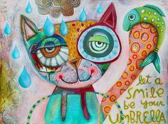 Let Smiles be Your Umbrella Original by AllenDesignsStudio on Etsy, $475.00