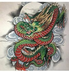 Awesome dragon art work done by dragon tattoo designs Dragon Koi Tattoo Design, Dragon Tattoo Colour, Dragon Tattoo Sketch, Dragon Sleeve Tattoos, Japanese Dragon Tattoos, Japanese Sleeve Tattoos, Japanese Tattoo Artist, Japanese Tattoo Designs, Asian Tattoos