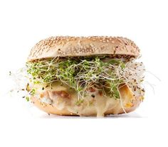Warm chicken, melted cheese, and crisp sprouts in a toasted bagel makes a satisfying snack or meal.