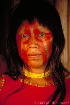 Kayapo woman with red face paint