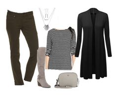 Cozy and classy fall or winter outfit idea with skinny jeans, tall wedge boots, striped t-shirt and long cardigan, plus a Tory Burch bag Winter Outfits, Casual Outfits, Fashion Outfits, Women's Fashion, Winter Fashion, Fashion Trends, Olive Jeans, Fall Capsule Wardrobe, Boating Outfit