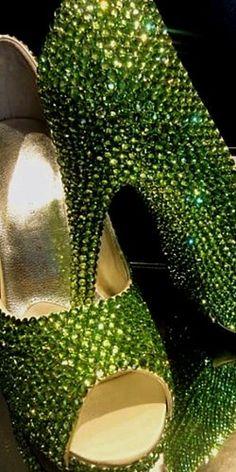 Apple green rhinestone shoes