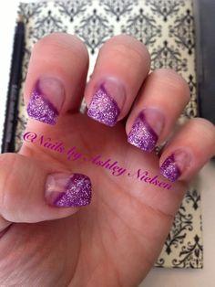 Purple glitter diagonal nails