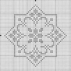 Pattern star biscornu - Crochet / knit / stitch charts and graphs Biscornu Cross Stitch, Cross Stitch Embroidery, Embroidery Patterns, Filet Crochet, Crochet Chart, Blackwork, Cross Stitch Designs, Cross Stitch Patterns, Cross Stitch Boards