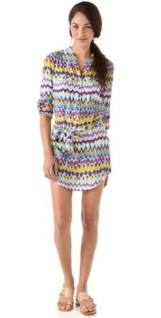 Haute Hippie Shirt Dress-silk shirt dress w/colorful abstract pattern
