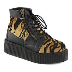 Demonia V Creeper 571 Ankle Boot Vegan / Print Faux Fur
