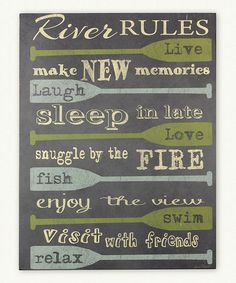 Another great find on #zulily! 'River Rules' Wood Box Sign #zulilyfinds