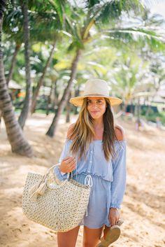 Gal Meets Glam Beach Breeze -Faithfull The Brand dress, Kaanas sandals, Hat Attack bag and Preston & Olivia hat