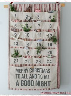 Our Vintage Style Fabric Advent Calendar with Pockets is a great way to create excitement every day of the season. Countdown the days to . Christmas Makes, Merry Little Christmas, Christmas Holidays, Nordic Christmas, Modern Christmas, Country Christmas, Fabric Advent Calendar, Diy Calendar, Pocket Calendar