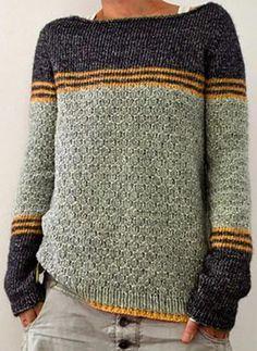 Geblockte Farben Gestreift Rundhalsausschnitt Freizeit Pullover (1002333439) - Pullover - #333439 chicsoso Raglan Pullover, Pullover Outfit, Pullover Sweaters, Knit Sweaters, Casual Sweaters, Sweaters For Women, Striped Knit, Mode Style, Sweater Outfits