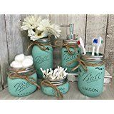 Painted Mason Jar Bathroom Set - Seaglass Rustic Distressed Farmhouse Decor Bathroom Soap Dispenser, Painted Mason Jar @ tbdynamicinnovations.com