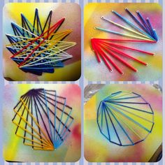 Knight's Smartest Artists: Introducing the Needle & Thread Club! Thread Art, Needle And Thread, Creative Arts Therapy, Art Therapy, Arte Linear, Art Sub Plans, Weaving For Kids, 4th Grade Art, Math Art