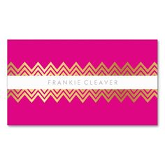 Trendy chevron pattern background with gold foil badge in baby pink modern chevron pattern trendy simple gold bold bright hot pink business cards businesscards cheaphphosting Image collections