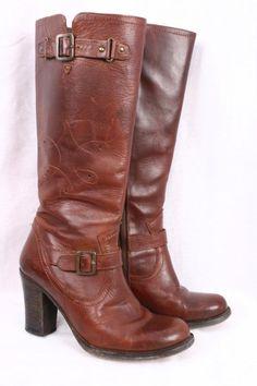 FRYE Julia Red Brown Leather Vintage Knee High Western Campus Boots Women 8 B #Frye #KneeHighBoots