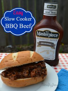 This Easy Slow Cooker BBQ Beef Recipe uses only a few ingredients and cooks up easily in the Crockpot!