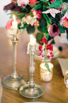 dripping candles | Anastasiya Belik Photography | http://burnettsboards.com/2013/12/mixed-berry-wedding-color-palette/