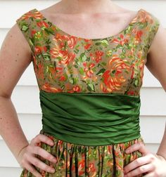 printed flower dress with green sash