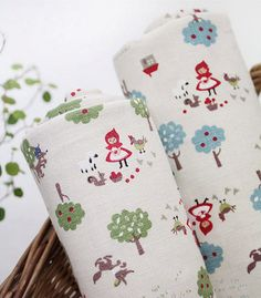Cotton Linen Fabric Little Red Riding Hood In The door BonitaFabric, $16.90