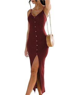 1d82d5b3b8 Lalala Women s Summer Spaghetti Straps Button Down Bodycon Party Maxi Dress  Material Cotton