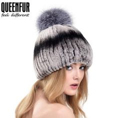QUEENFUR 2017 New Knitted Real Rex Rabbit Fur Beanies With Genuine Fox Fur Ball Hats Women Fashion Russia Elastic Skullies Caps